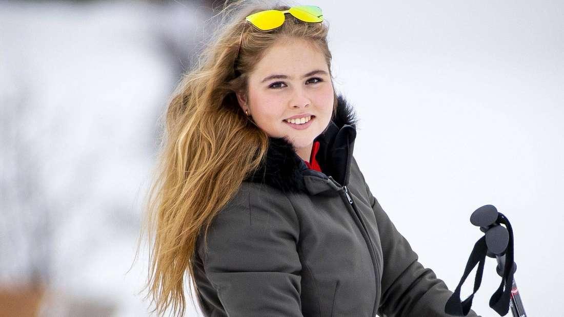 Kronprinzessin Catharina-Amalia der Niederlande beim Skifahren