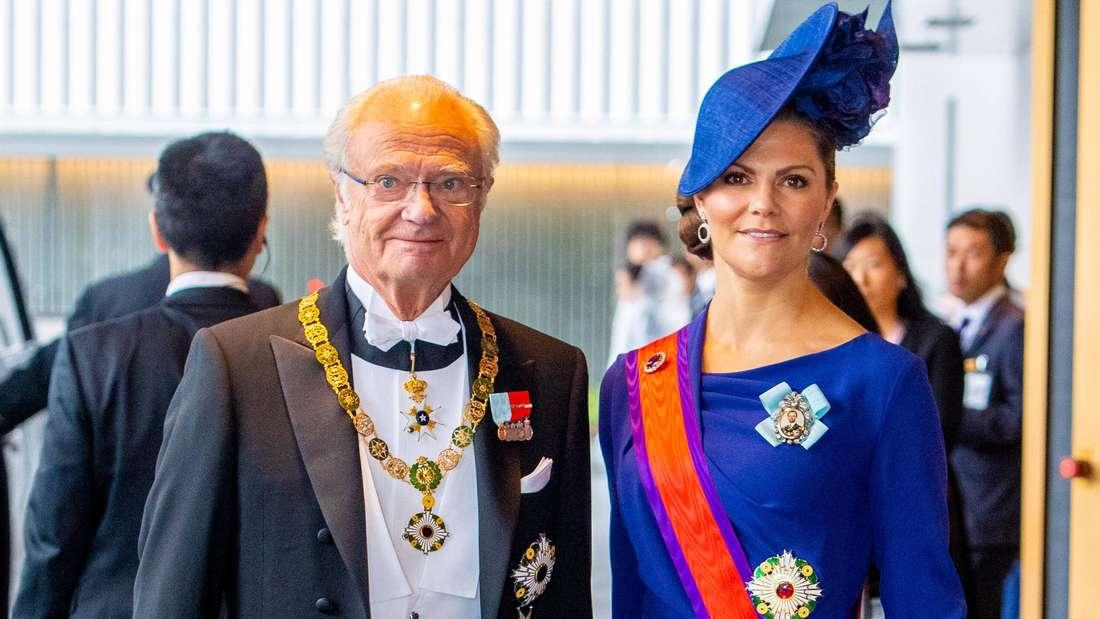 König Carl XVI. Gustaf von Schweden mit seiner Tochter, Kronprinzessin Victoria.