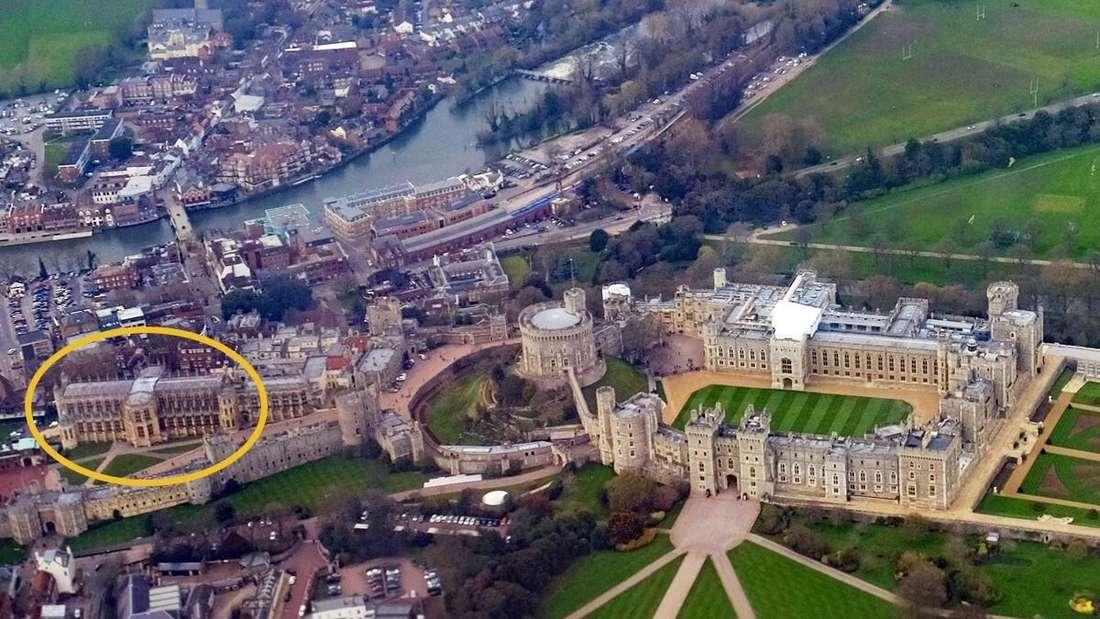 Luftaufnahme von St. George's Chapel und der exakten Grabstätte Prinz Philips