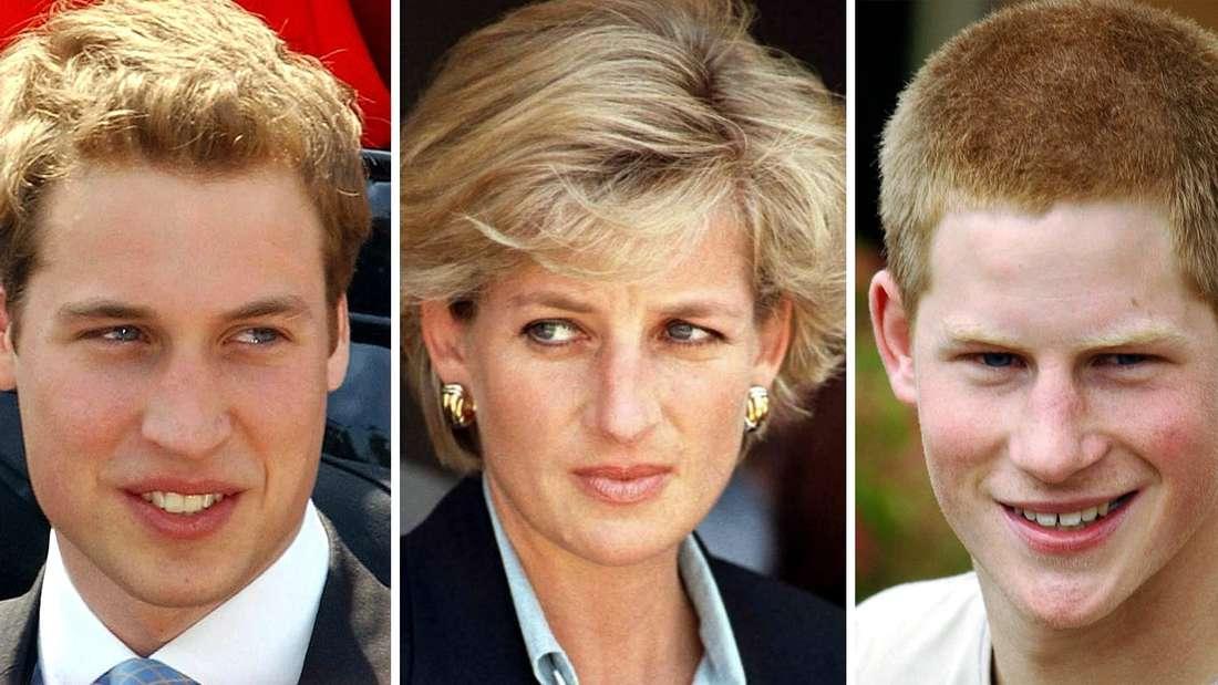 Zusammenschnitt der Prinzen William und Harry, in der Mitte ihre Mutter Diana 2004
