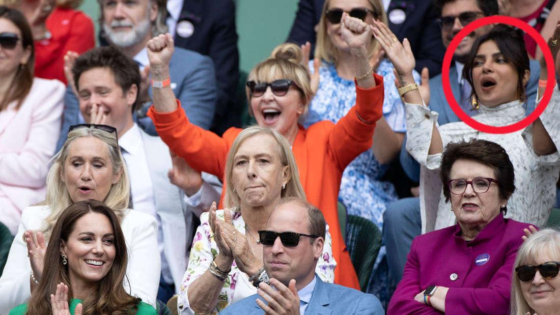 In der Royal Box bei Wimbledon sitzen William und Kate, zwei Reihen darüber Meghans Freundin Priyanka Chopra, alle applaudieren.