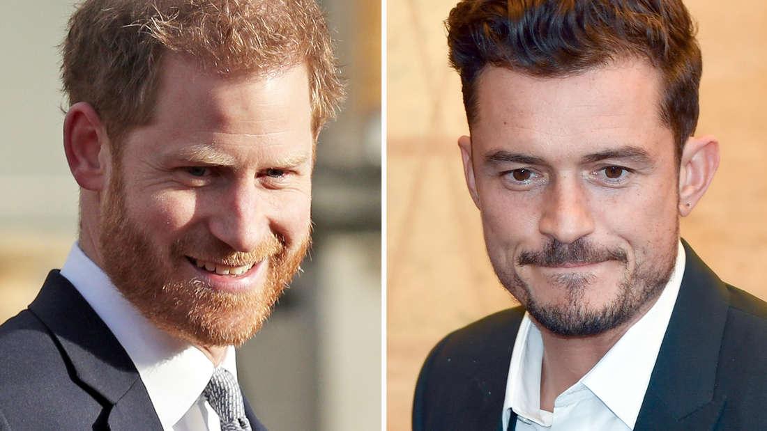 Orlando Bloom und Prinz Harry zusammengefügte Porträtbilder